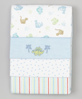 Blue Dinosaur Flannel Stroller Blanket Set