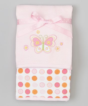 Pink Flower Butterfly Thermal Blanket Set