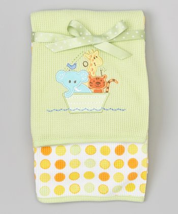 Green Animal Boat Thermal Blankets Set