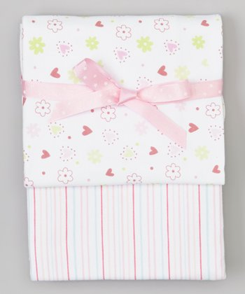 Pink Flower & Heart Swaddling Blanket Set