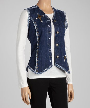 Denim Blue Studded Cross Vest - Women & Plus