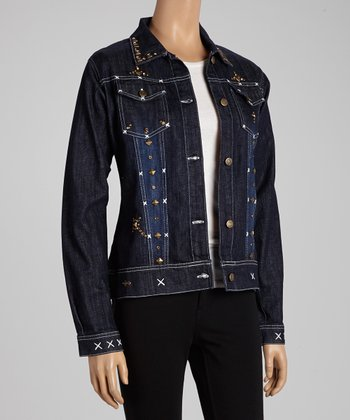 Black Studded Cross Denim Jean Jacket - Women & Plus