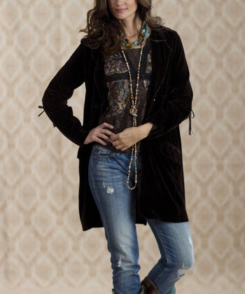 Brown Vintage Fenway Velvet Jacket - Women