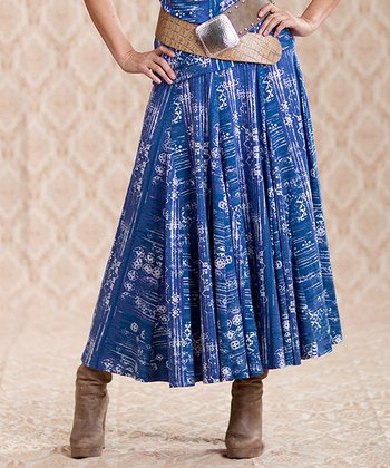 Blue Paint Stripe Skirt - Women