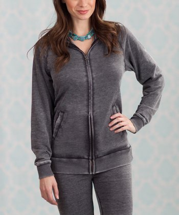 Gray Marie Fleece Zip-Up Hoodie - Women & Plus