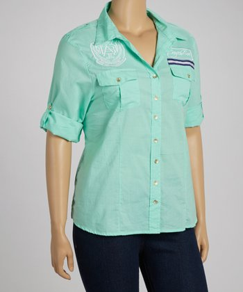 Aqua Button-Up - Plus