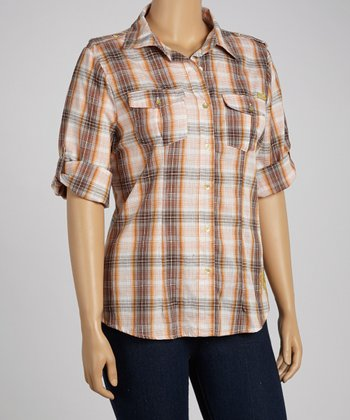 Brown Plaid Button-Up - Plus