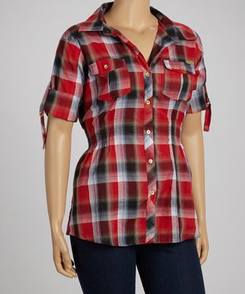 Red Plaid Three-Quarter Sleeve Button-Up - Plus