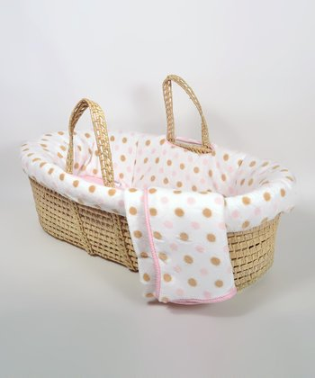 Pink Polka Dot Fleece Moses Basket Set