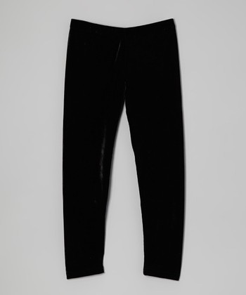 Black Velvet Leggings - Girls
