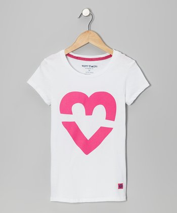 White VeryMeri Heart Tee - Toddler & Girls