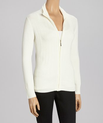 Ecru Ribbed Zip-Up Sweater - Women