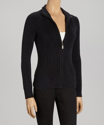 Black Ribbed Zip-Up Sweater - Women