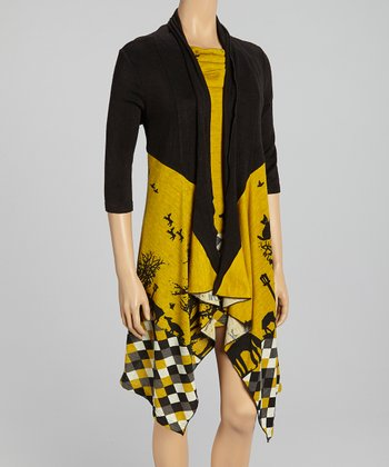 Yellow Checkerboard Dress & Open Cardigan - Women