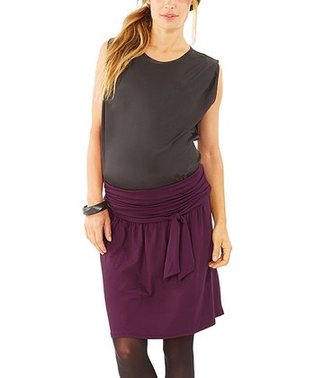 Plum Tie-Waist Maternity Skirt