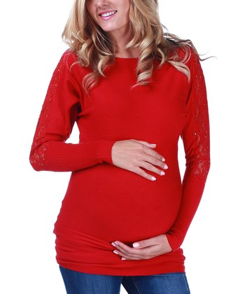 Red Lace Maternity Sweater