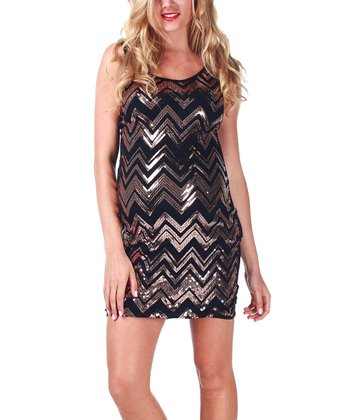 Gold Zigzag Maternity Sleeveless Dress