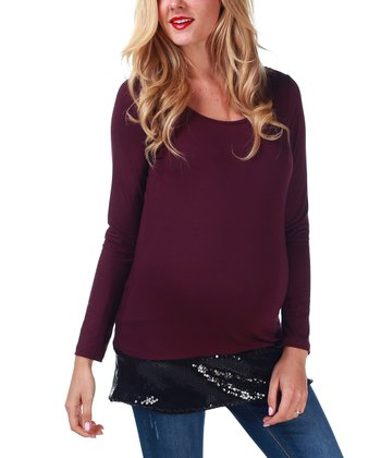 Burgundy Sequin-Trim Maternity Top - Women