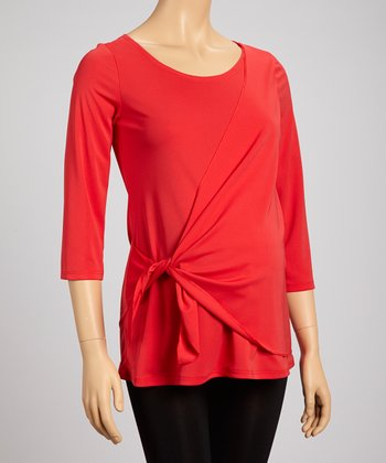 Red Maternity Wrap Top