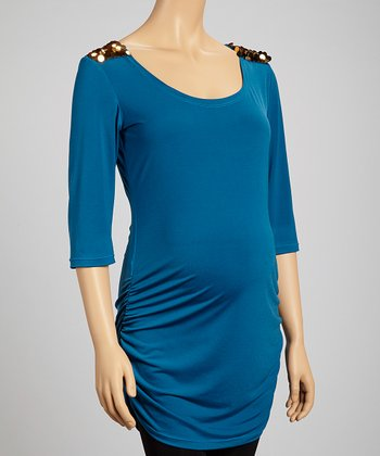 Teal Maternity Three-Quarter Sleeve Top