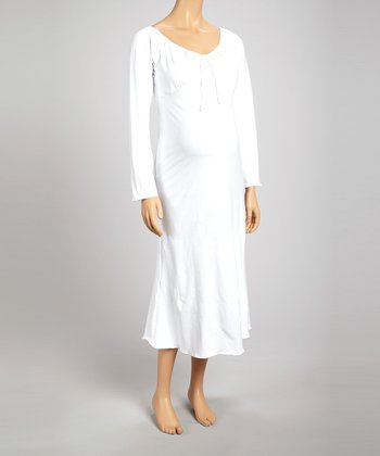 White Maternity Dress - Women & Plus