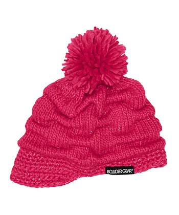 Pink Shock Ruched Billed Pom-Pom Beanie