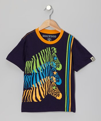 Navy Zebra Tee - Toddler & Kids