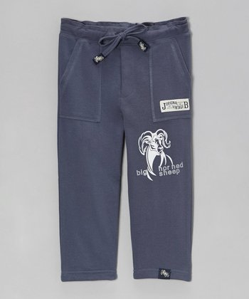 Dark Blue Relaxed 'Sheep' French Terry Pants - Toddler & Boys