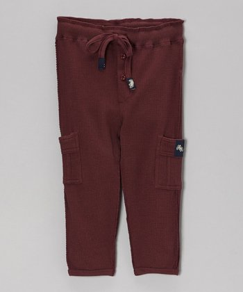 Dark Rose Relaxed Vintage Thermal Pants - Toddler & Boys
