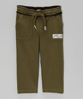 Olive Relaxed Fleece Pants - Toddler & Boys