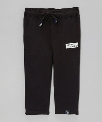Black Relaxed French Terry Pants - Toddler & Boys