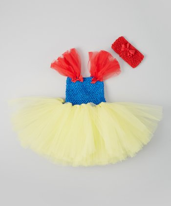 Blue & Yellow Tutu Dress & Crocheted Headband - Infant & Toddler