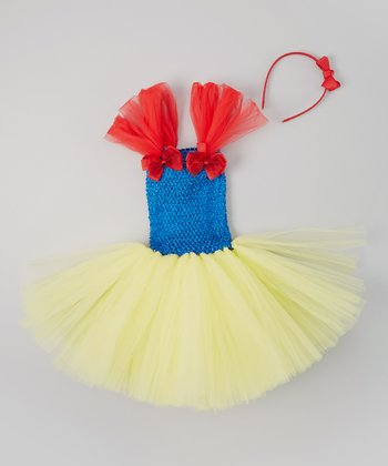 Blue & Yellow Tutu Dress & Bow Headband - Toddler & Girls