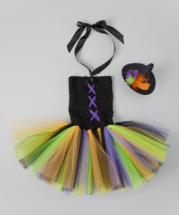Black & Purple Witch Tutu Dress & Clip - Toddler & Girls