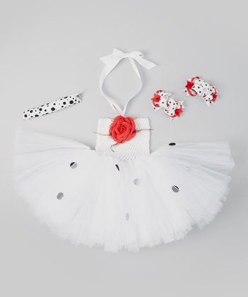 White & Black Polka Dot Dalmatian Tutu Dress Set - Infant, Toddler & Girls