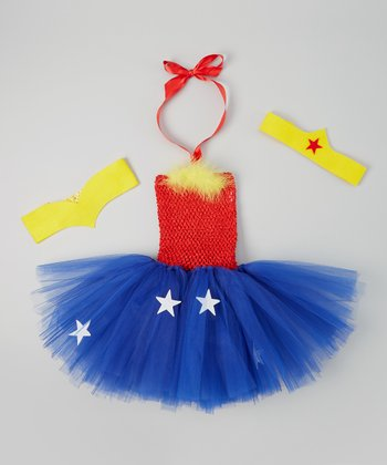 Red & Blue Superheroine Tutu Dress Set - Infant, Toddler & Girls