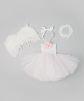 White & Pink Angel Tutu Dress Set - Infant & Toddler