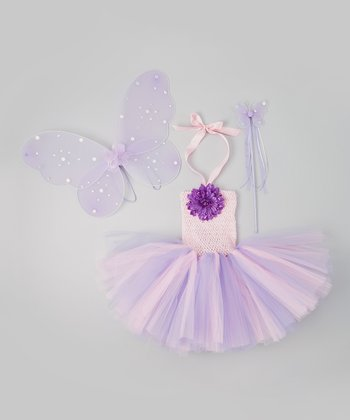 Pink & Purple Fairy Tutu Dress Set - Infant, Toddler & Girls