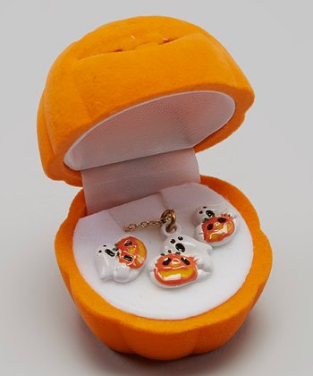 Orange & White Ghost Pumpkin Necklace & Earrings