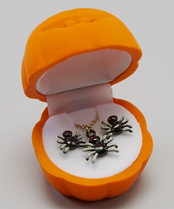 Black Spider Halloween Necklace & Earrings