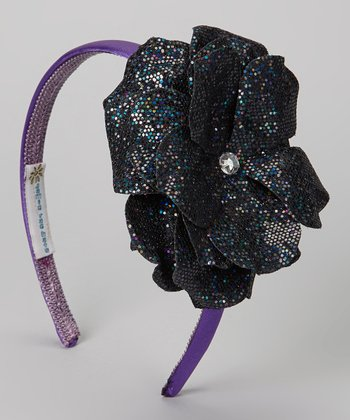 Black Sparkle Flower Headband