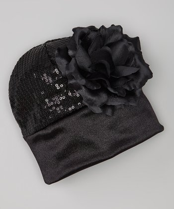 Black Sequin Flower Beanie