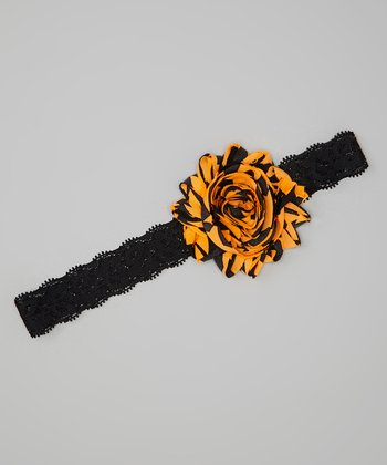 Orange & Black Rosette Lace Headband