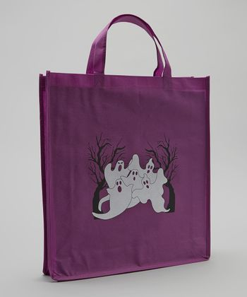 Purple & Black Ghost Halloween Trick or Treat Bag