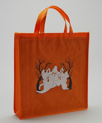 Orange Ghost Halloween Trick or Treat Bag