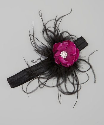Black & Purple Rosette Feather Headband