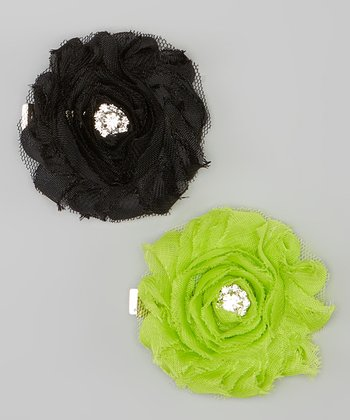 Black & Lime Shabby Chic Clip Set