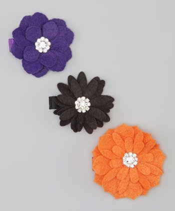 Orange Felt Flower Clip Set