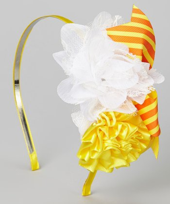 Orange & Yellow Bow Flower Headband