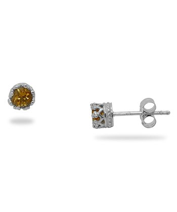 Citrine & Sterling Silver Stud Earrings